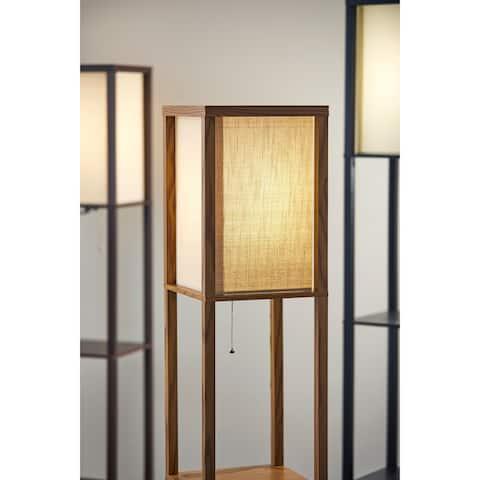 Carbon Loft Wiig Black Walnut or Natural Wood Shelf Lamp