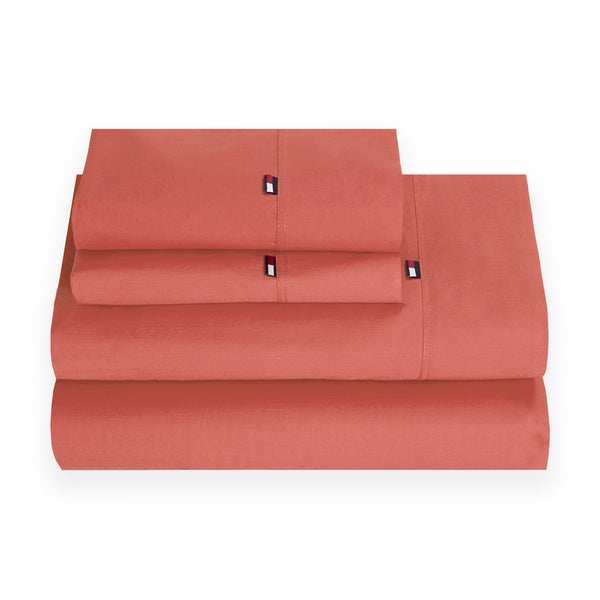 Signature Solid Coral Cotton Sheet Set