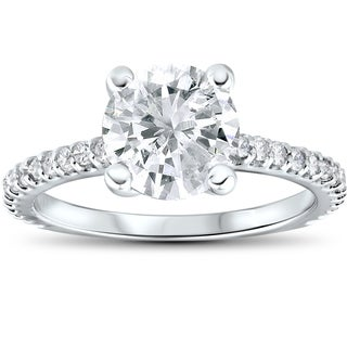 14k White Gold 2 1/3 cttw Diamond Engagement Ring Solitaire Round Brilliant Cut (H-I, I2-I3)