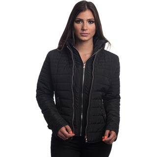 Special One Women's Black Quilted Fur-lined Zip-up Detachable-hood Jacket