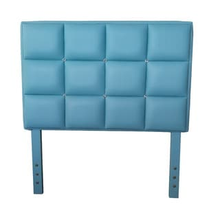 Twin Bed Aqua Faux Leather, Crystal Button-Tufted Headboard
