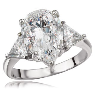Avanti Sterling Silver Pear and Trillion Cubic Zironia Three Stone Ring (3 options available)