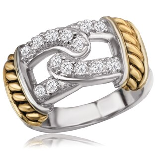 Avanti Sterling Silver Two Tone Cubic Zirconia Love Knot Pave Ring