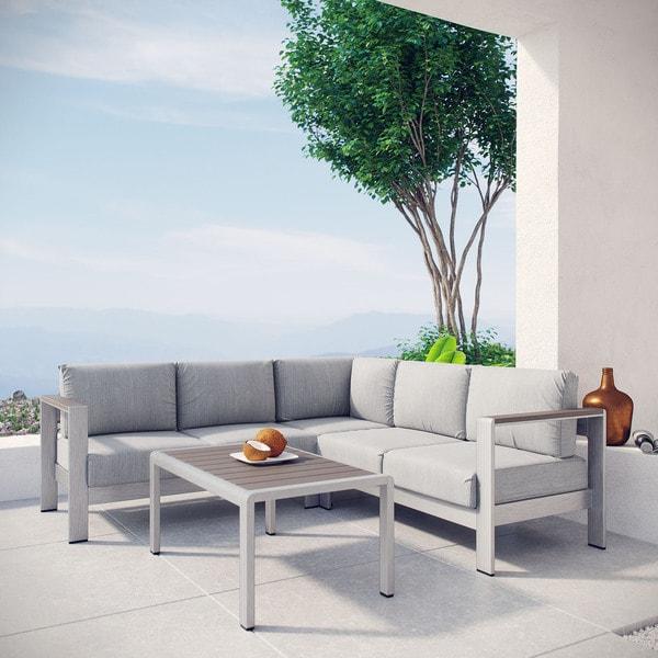 Shop Shore 4 Piece Outdoor Patio Aluminum Sectional Sofa ... on Outdoor 4 Piece Sectional id=76721