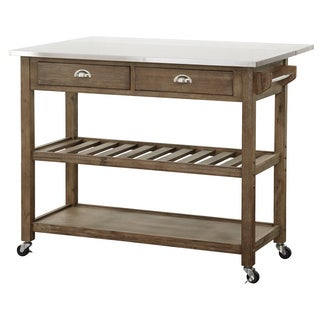 Boraam Industries Wood and Stainless Steel Drop Leaf Kitchen Cart