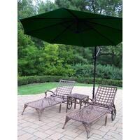 Gracewood Hollow D'Annunzio 4-piece Cast Aluminum Green Umbrella Patio Lounge Set