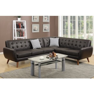 Lucca Sectional Sofa Upholstered in Espresso Bonded Leather