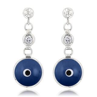 Luxurman 14k Gold 1/5ct TDW Diamond Rich Blue Evil Eye Earrings (H-I, SI1-SI2)