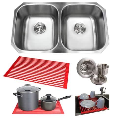 32.5-inch Steel Double-Basin Under-mounted Kitchen Sink