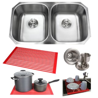 32.5-inch Steel Double-Basin Under-mounted Kitchen Sink