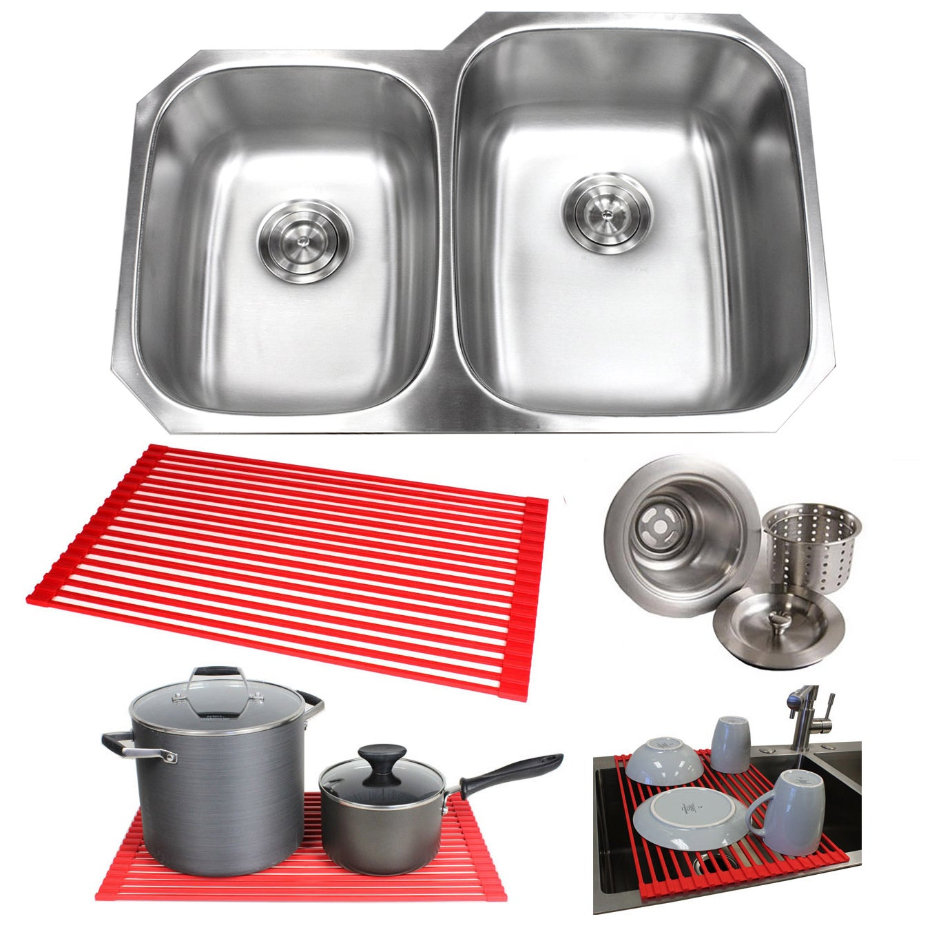 "Undermounted Steel Double Kitchen Sink (32"" Stainless Ste..."
