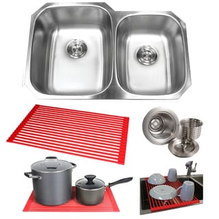 32-inch Double 60/ 40 Bowl 18-gauge Undermount Stainless Steel Kitchen Sink, and Large Left Bowl Basket Strainer with Dish Rack