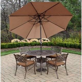 Dakota Champagne and Antique Bronze 7-piece Umbrella Patio Dining Set