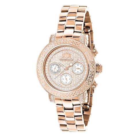 Luxurman 'Montana' Rose Gold over Steel Women's Oversized Swiss Watch