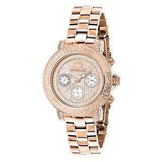 Luxurman 'Montana' Rose Gold over Steel Women's Oversized Swiss Watch