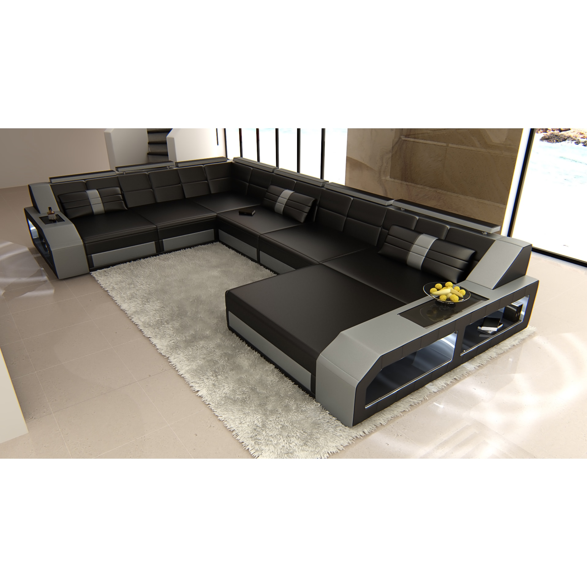 Modern Black And Grey Sectional Sofa