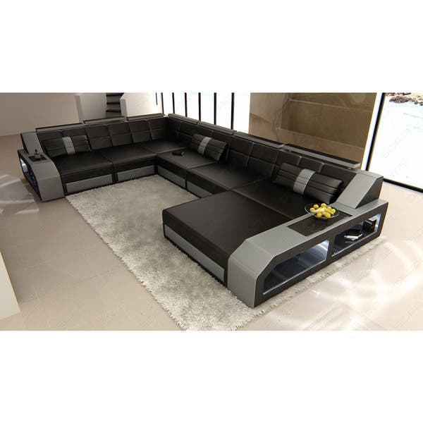 Design Houston Modern Black and Grey Sectional Sofa