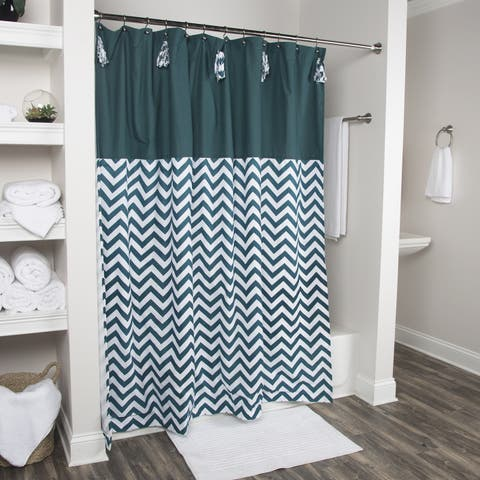 Arden Loft Solid Color Teal White 72 x 72-inch Shower Curtain