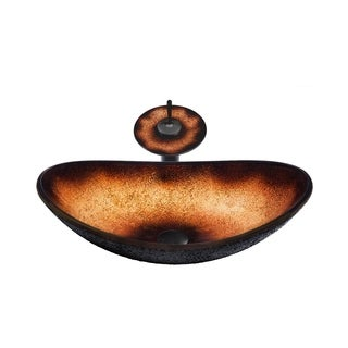 Novatto Rena Glass Vessel Bathroom Sink Set, Oil Rubbed Bronze