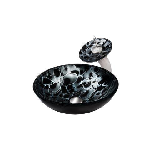 Novatto Tartaruga Glass Vessel Bathroom Sink Set, Brushed Nickel