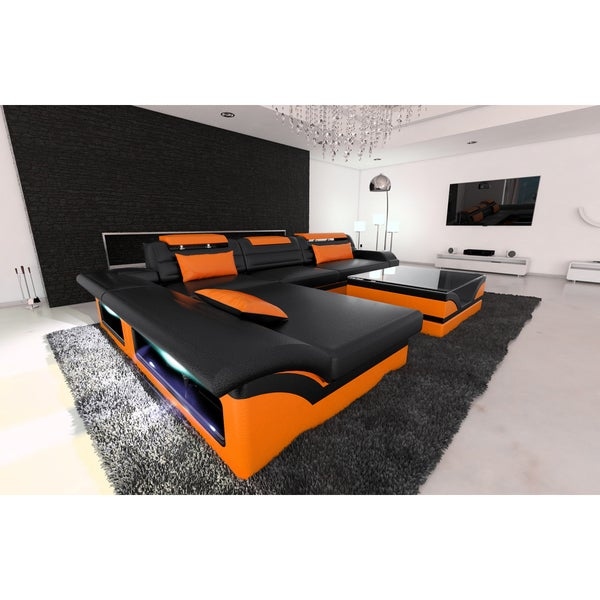 Modern Corner Sectional Sofa Chicago LED Lights L- Shaped