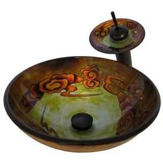 Novatto Modello Glass Vessel Bathroom Sink Set, Oil Rubbed Bronze