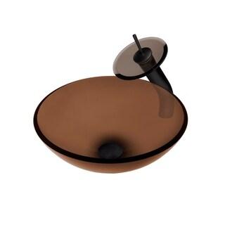 Novatto Ty Glass Vessel Bathroom Sink Set, Oil Rubbed Bronze