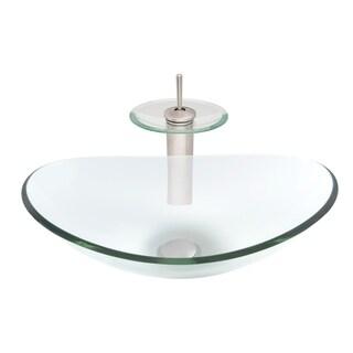Novatto Chiaro Glass Vessel Bathroom Sink Set, Brushed Nickel/ Clear Glass