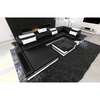 SofaDreams Black and White Leather Sectional 'Orlando' Sofa with LED Lighting