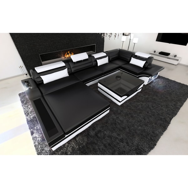 Shop SofaDreams Black and White Leather Sectional \'Orlando\' Sofa ...