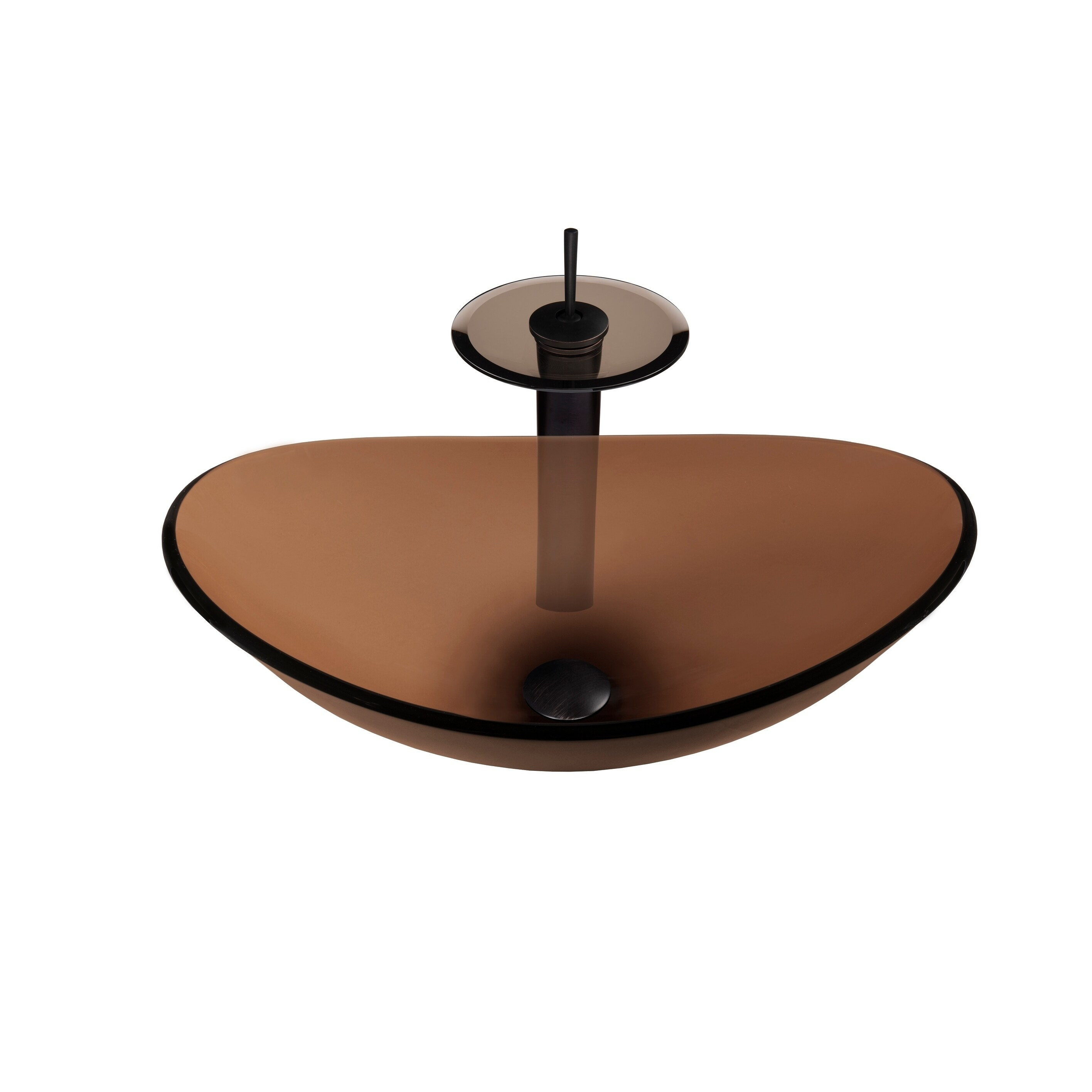 Novatto Babbuccia Glass Vessel Bathroom Sink Set, Oil Rub...