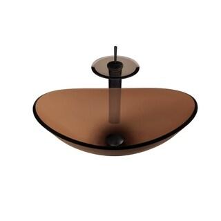 Novatto Babbuccia Glass Vessel Bathroom Sink Set, Oil Rubbed Bronze