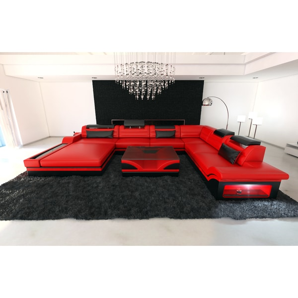 Design Red Leather Sectional Sofa Orlando XXL With LED Lights
