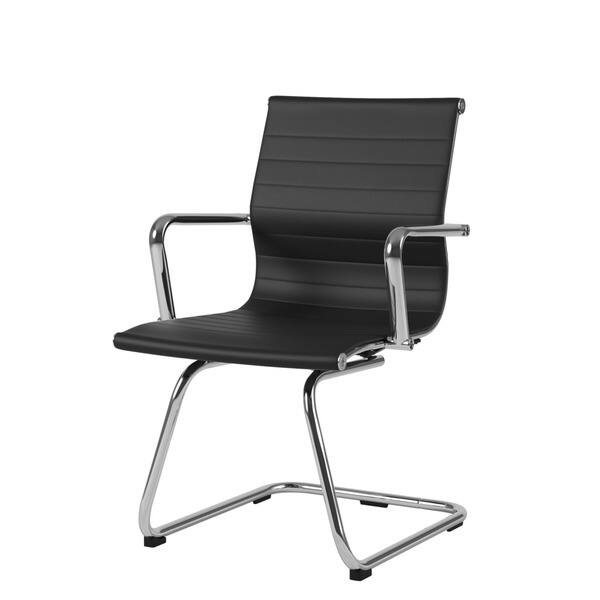Terrific Shop Corliving Workspace Black Bonded Leather And Chrome Ibusinesslaw Wood Chair Design Ideas Ibusinesslaworg