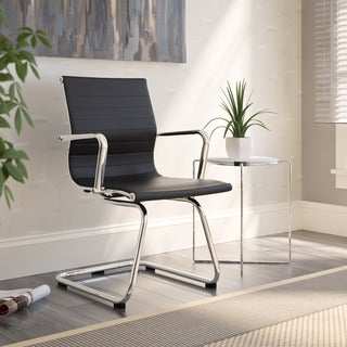 CorLiving Workspace Black Bonded Leather and Chrome Office Guest Chair