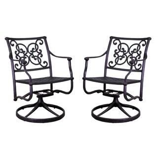 Azusa Antique Bronze Aluminum Swivel Rocking Chair Set