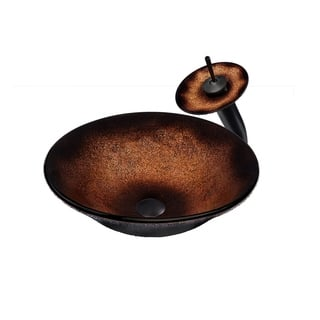 Novatto Sanguinello Glass Vessel Bathroom Sink Set, Oil Rubbed Bronze|https://ak1.ostkcdn.com/images/products/13232053/P19948342.jpg?impolicy=medium