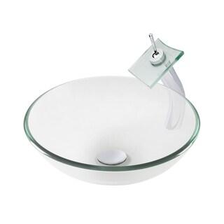 Novatto Bonificare Glass Vessel Bathroom Sink Set, Chrome