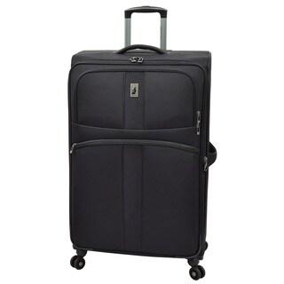 London Fog Wellington Black Polyester 29-inch Expandable 8-Wheel Spinner Suitcase