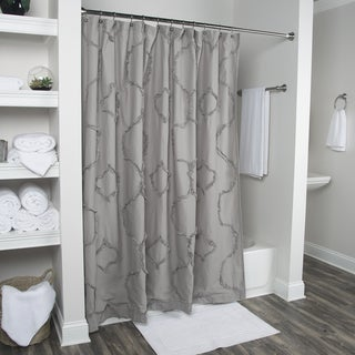 Arden Loft Diamond Embroided Notch Grey 72 x 72-inch Shower Curtains