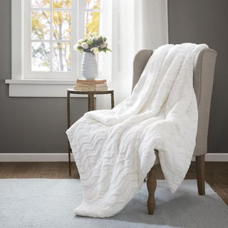 Premier Comfort Neve Ivory Faux Fur Down Alternative Throw