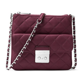 Michael Kors Sloan Plum Quilted Leather Medium Crossbody