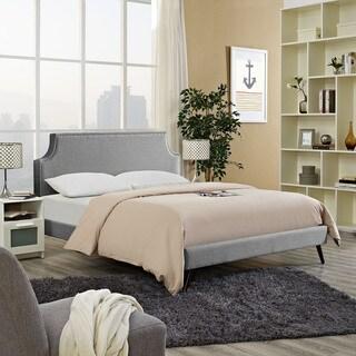 Laura Light Grey Fabric Platform Bed with Round Splayed Legs
