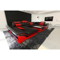 SofaDreams Leather Sectional 'Atlanta' Sofa with LED Lights