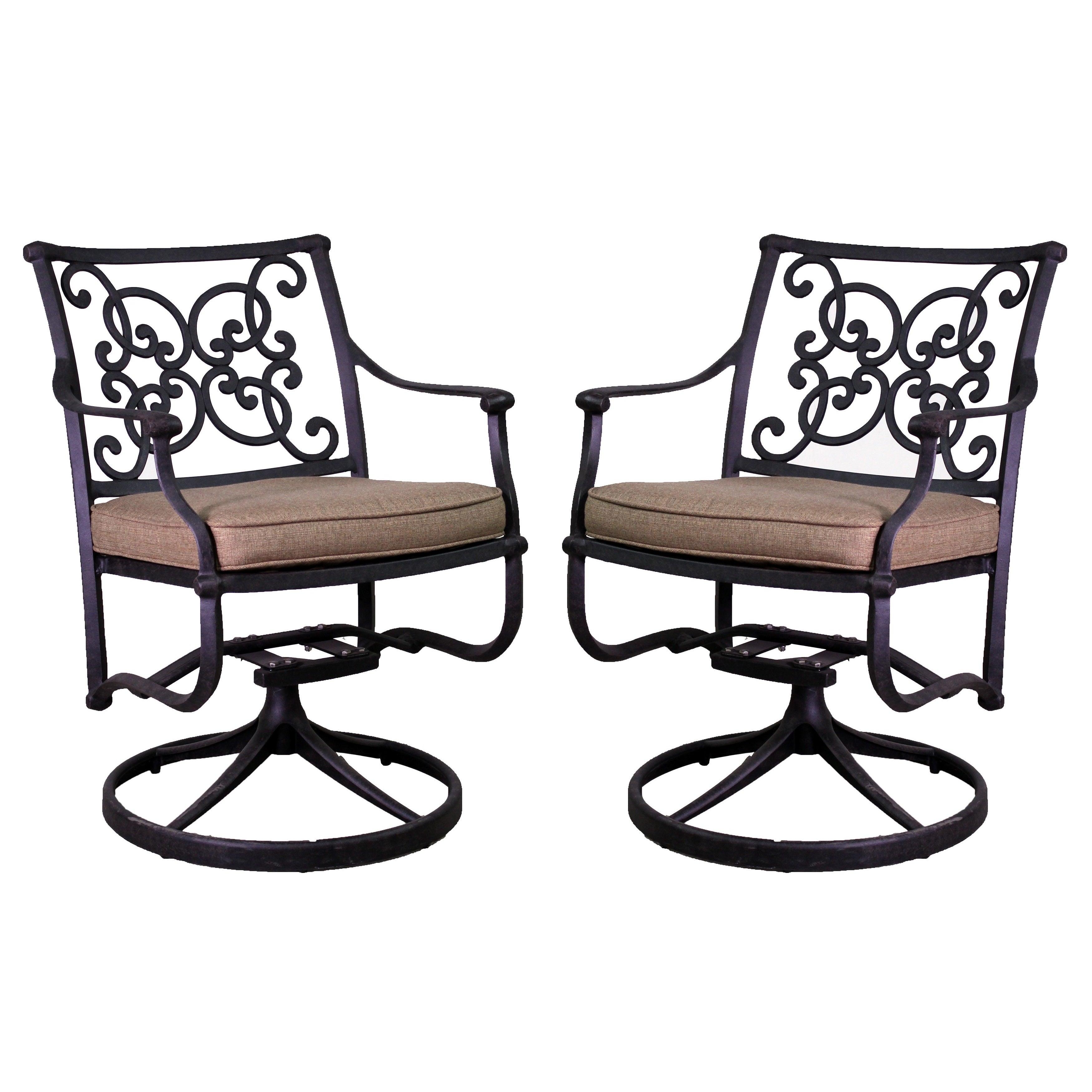 Azusa Black Aluminum Swivel Rocking Chair Set (Azusa Swiv...