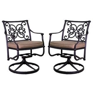 Azusa Black Aluminum Swivel Rocking Chair Set