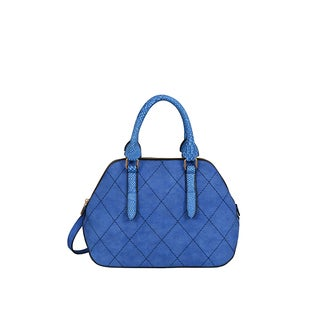 Mellow World Adele Blue Faux-leather Medium Quilted Satchel Handbag