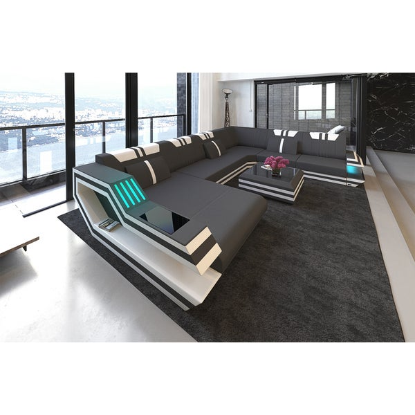 SofaDreams 'Hollywood XXL' Leather Sectional Sofa With LED