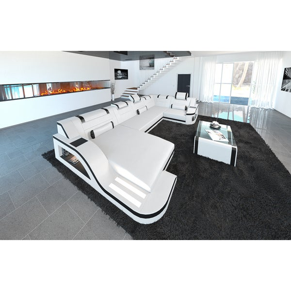 Shop Sofadreams White Leather Sectional Detroit Sofa