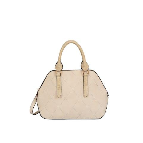 Mellow World Adele Beige Faux Leather Medium Satchel Handbag